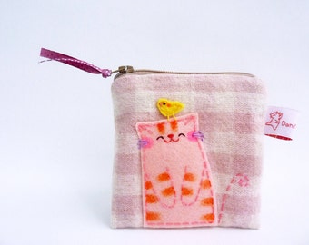 Coin Purse Cat, Fabric Purse, Small Cotton Purse, Cat Pouch, Pouch For Teens Girl, Zipper Pouch, Kawaii Purse - Cat Lover Gift