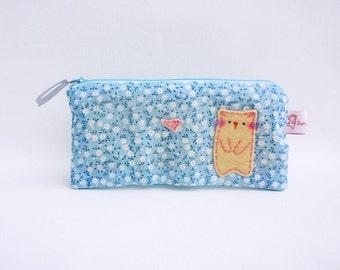 Cat pencil case blue flower fabric makeup organizer zipper pouch cute school purse unique gift for teens for cat lovers