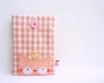 Kindle Case, Cat Kindle Case, Fabric Kindle Case, Kindle Cover, Kindle Sleeve, Pink, Nook Sleeve, Nook Cover, Kindle Sleeve, Curious Cat