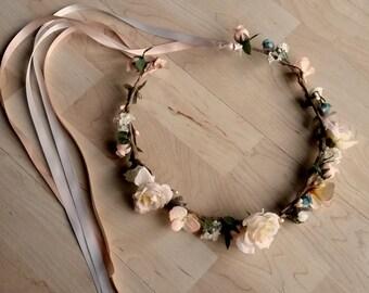 Custom Bridal Flower crown blush peach aqua teal wedding accessories hair wreath Boho halo circlet customize with boots music festival