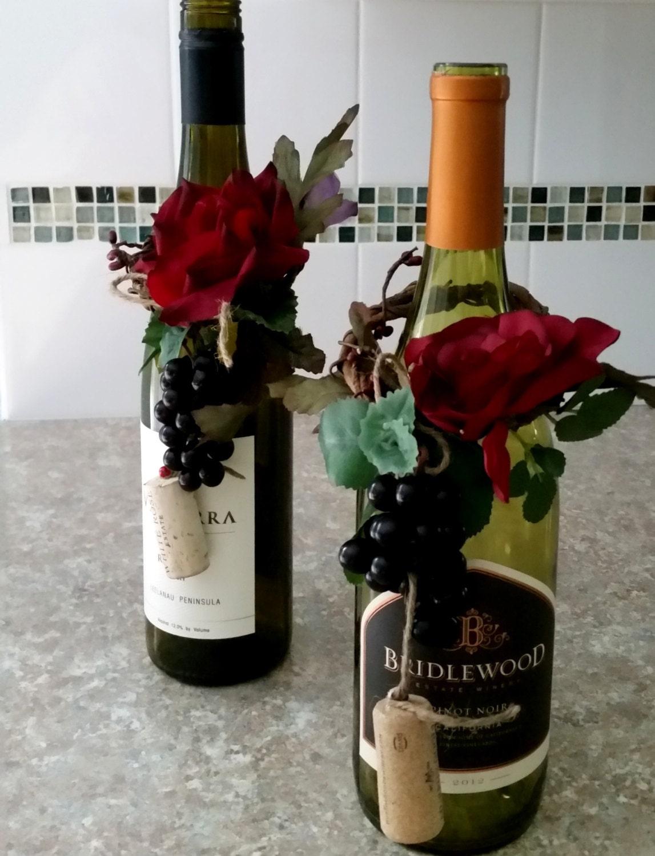 Burgundy wedding centerpieces wine bottle toppers vineyard for Wine bottle wedding centerpieces