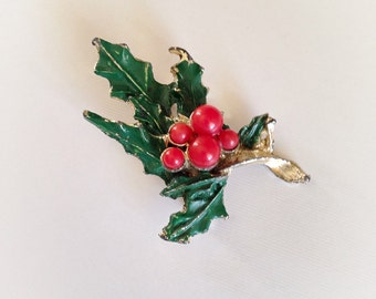 Vintage Enamel and Plastic Holly Berry Brooch