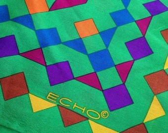 "Vintage Silk Scarf ECHO 80s TANAGRAM SHAPES Geometric Colorful Jewel Tone on Emerald Green 26"" Math, Art Teacher"