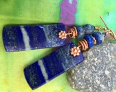 Gorgeous Bold Lapis Lazuli Slab and Copper Earrings