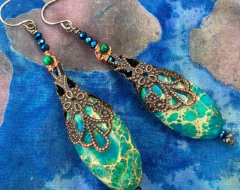 Caribbean Blue Ocean Jasper Earrings