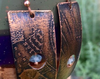 Peek-A-BoHand Etched Copper Bold Earrings with Blue Quartz Crystal