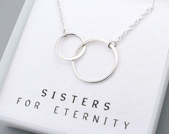 Sisters Necklace, Eternity Circle, sterling silver, message card, gift for sisters, best friends necklace, gift for her, eternal love