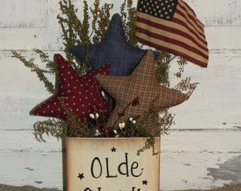 Olde Glory Homepsun Star Box and American Flag Arrangement-Patriotic-4th of July-Primitive American Decor-Decoration-Table Arrangement