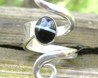 RING, STERLING SILVER , Handmade,Statement, Sterling Silver Flatware Fork, 8 x 10 mm Black Lace Agate Cabochon, Size 6 to 7,High Polished .