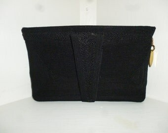 Vintage 30's or 40's - Hollywood Regency - Black - Decorative Cord - Clutch - Handbag - size 9.5 x 5.5 x 2