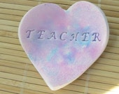 For Teacher Little Heart Shaped Bowl - Trinket Dish Paper Clip Holder Desk Accessory by Roz Petalz Studio