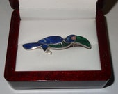 Vintage Sterling Silver Lapis Lazuli and Malachite Toucan Bird Pin