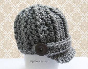 Crochet Pattern- Baby Boy Hat Pattern- Newsboy Hat pattern - Crochet  Visor Cap n54 Newborn Baby to One Year Photo Prop