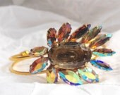 Iridescent Upcycled Vintage Brooch Bracelet on Gold Cuff