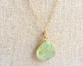 Light Green Prehnite Pendant Gold Necklace