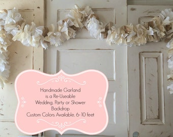 Shabby Chic Burlap and Lace Fabric Garland Handmade 6 Foot Wedding or Shower Rag Banner, Great Table Decor or Photo Backdrop, Vintage Fabric
