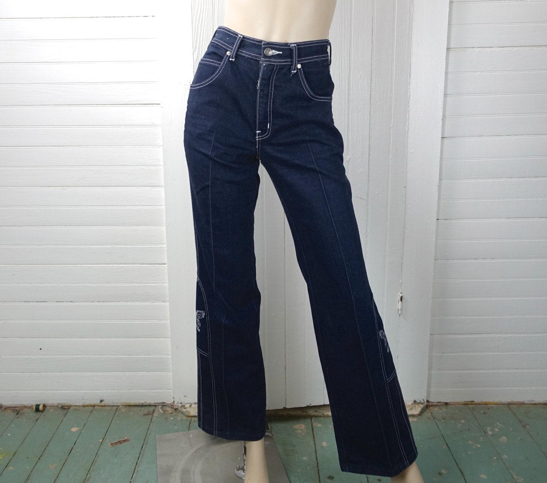 S bell bottom jeans dark blue wash embroidered eagles