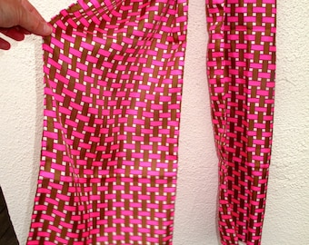 Vintage Silk Scarf  LONG I Magnin and Co. made in France Hot Pink Brown White Basket Weave 14 by 43 Hand Rolled