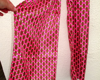 Vintage Silk Scarf  LONG I Magnin and Co. made in France Hot Pink Brown White Basket Weave 11 by 70 Hand Rolled
