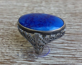 Vintage Art Deco Ring Blue Stone Ring Sterling Silver
