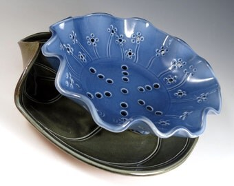 Handmade Blue Berry Bowl - Pottery Fruit Bowl Colander - Dark Green Leaf Plate - 264