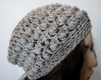 Crochet Slouchy Hat in Grey for Teens and Women, Beret, Rasta, Tam, Beanie