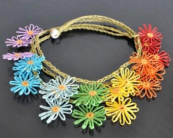 Rainbow Daisy - Mini - Paper Raffia Loom Flower Bib Necklace
