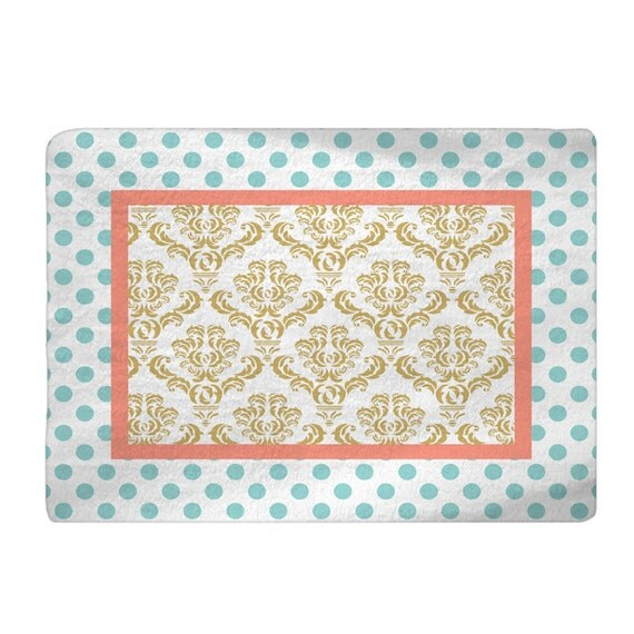 Gold-White Damask & Pastel Aqua Polka Dots With Lt By