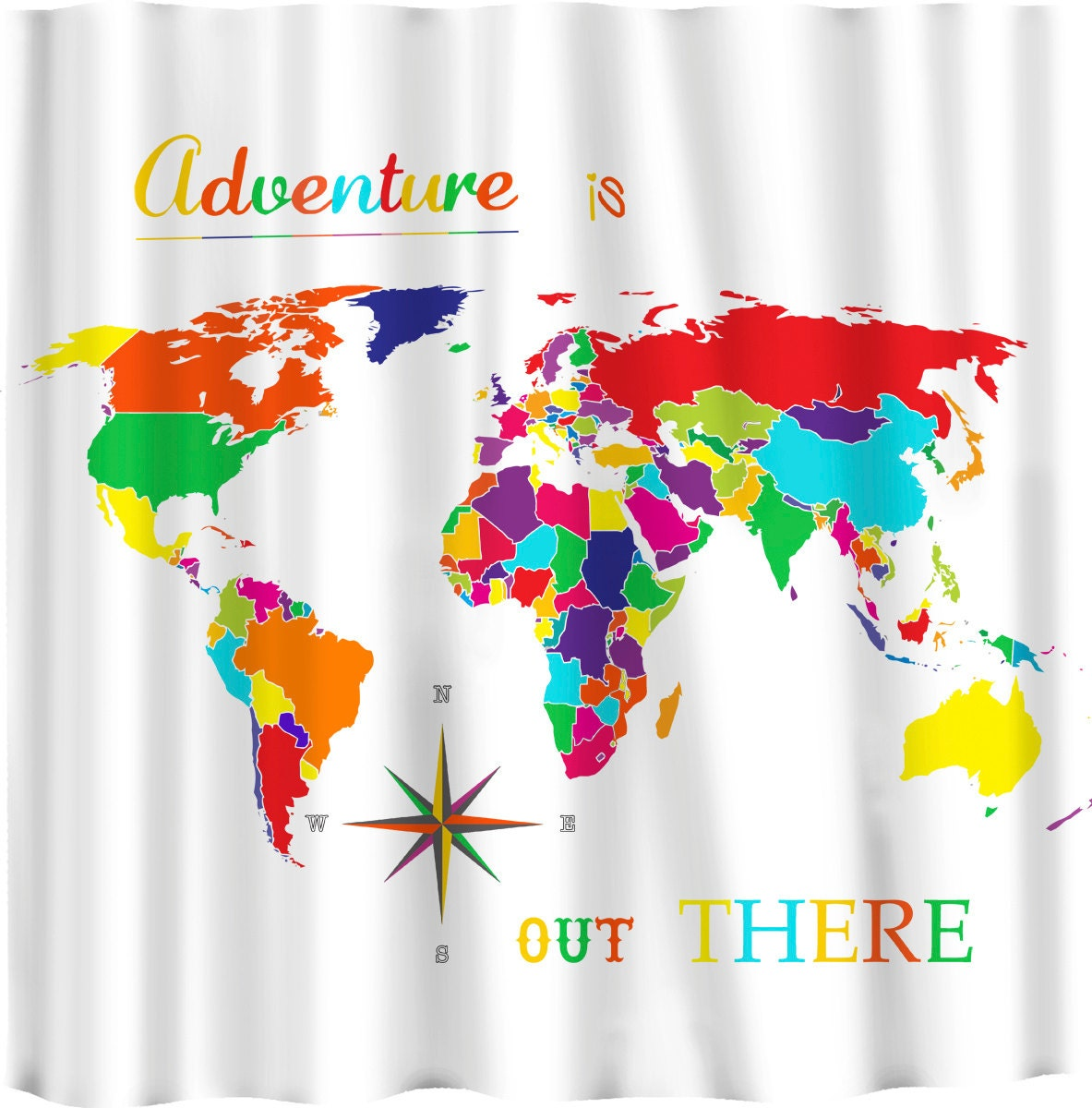 Brights World Map Shower Curtain Adventure Is Out There
