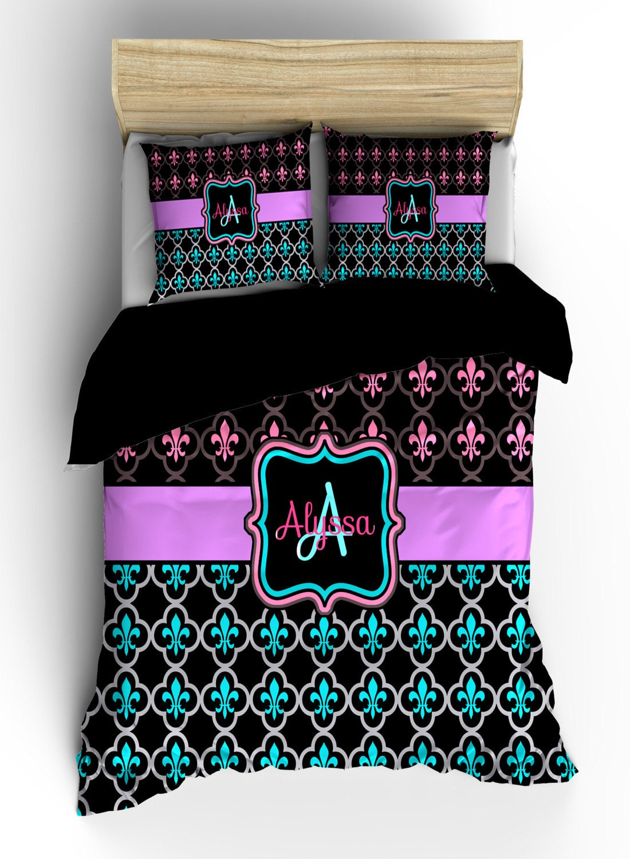 Personalized custom fleur de lis bedding black hot pink - Fleur de lis bed sheets ...