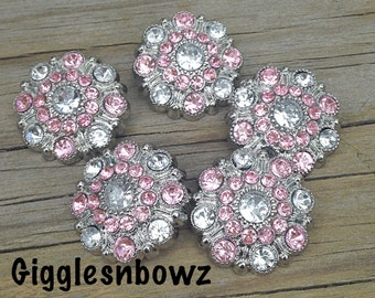 Overstock Sale- 5pc Rhinestone Buttons- Acrylic Plastic Rhinestone Buttons 28mm- Headband Supplies- Diy Brooch Bouquet- Sewing Button