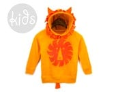 Geo Lion Cub - Pullover Fleece Hooded Long Sleeve Sweatshirt with Ears Mane and Tail in Tangerine Orange - Baby & Toddler