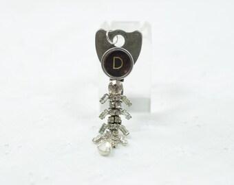 Initial charm / D letter / Vintage Key upcycled / Rhinestone OOAK / typewriter key / pendant / birthday monogram D / metal