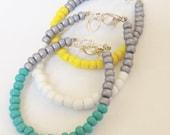Color Block Bracelet SET Turquoise, Yellow, White Glass Baby, Toddler, Kids, Womens Dainty Bracelet - Preppy, Beach, Boho