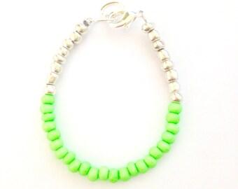 Baby Bracelet Color Block Bracelet Neon Green and Silver - Czech Glass Baby, Toddler, Kids, Womens Dainty Bracelet - Preppy, Beach, Boho