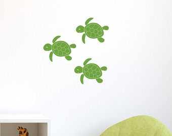 Baby Sea Turtle Wall Decal Set - Sea Ocean Friends - Set of 3, Childrens Wall Decals, Ocean Wall Decals