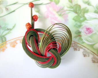 Vintage Quilled Straw Brooch Flower Modernist abstract Art