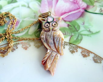 Vintage carved Abalone Owl Pendant necklace