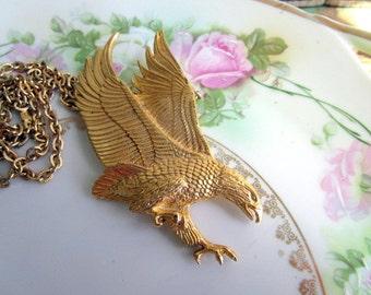 Vintage Statement Eagle Pendant Necklace Flying landing eagle 3D detailed