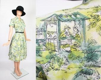 Vintage 50s Novelty Print Dress / 1950s Summer Dress / Pleated Full Skirt Day Dress / Nostalgic Scenic Print / Watercolor / Medium / Large