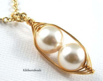 Peapod Necklace - Two Peas In A Pod Gold  Necklace