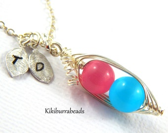 Peapod Necklace - Peas In A Pod Jewelry Sterling Silver Personalized Hand Stamped Necklace