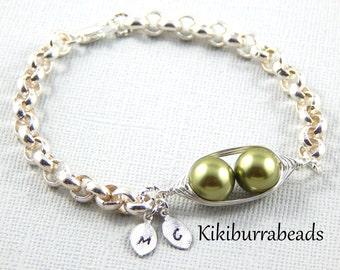 Peapod Bracelet - Two Peas In A Pod Silver Belcher Bracelet Hand Stamped Leaves Friendship Bracelet