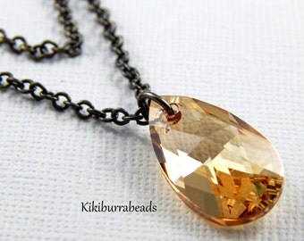 crystal necklace, Swarovski Crystal Golden Shadow  Double Strand Necklace