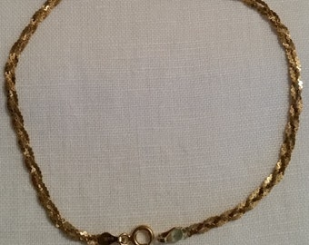 14KT Yellow Gold Bracelet Woven Estate Piece   Hallmarked FREE SHIP