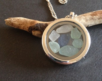Genuine Irish Sea Glass filled Locket - aqua, blue, white