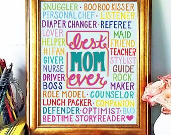Mother Gift, Illustration, Hand Lettered Art Print, Best Mom Ever, Inspirational Print, Encouragement Print, Typographic Art, Bright,