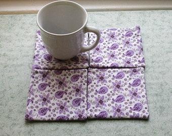 purple paisley flowers set of mug rugs
