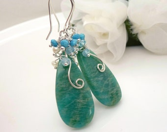 Amazonite earrings in sterling silver, blue green and turquoise, white pearl, blue aquamarine, long cluster earrings
