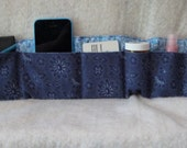 Purse organizer-bags and purses-purse insert Navy blue w/ light blue inside